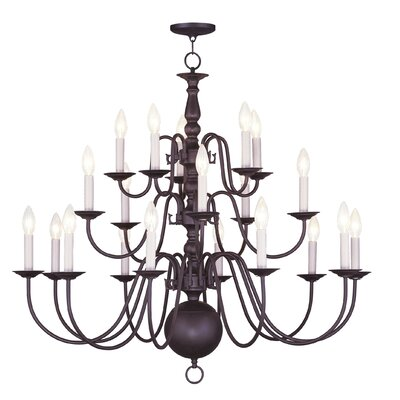 Williamsburgh 20-Light Candle-Style Chandelier Finish: Bronze