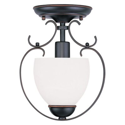 Whittaker 1-Light Convertible Foyer Pendant Finish: Olde Bronze, Glass Color/Bulb Type: Satin White Glass/Medium Base