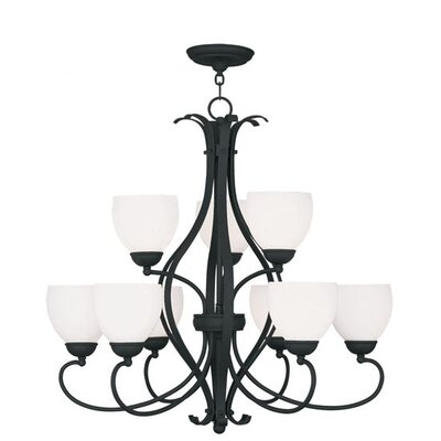 Whittaker 9-Light Shaded Chandelier Finish: Black, Glass Color/Bulb Type: Satin White/Medium Base