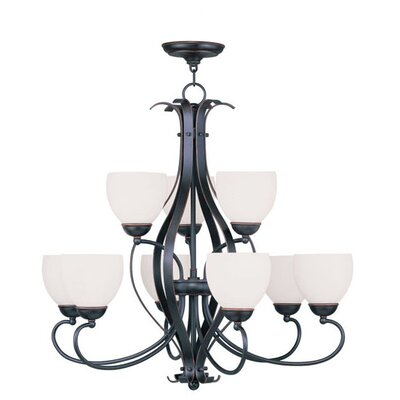 Whittaker 9-Light Shaded Chandelier Finish: Olde Bronze, Glass Color/Bulb Type: Satin White/Medium Base
