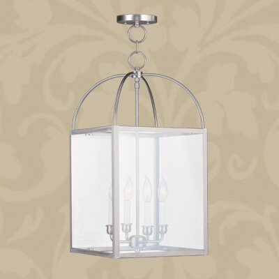 Brundidge 4-Light 60W Foyer Pendant Finish: Black, Shade: Seeded Glass