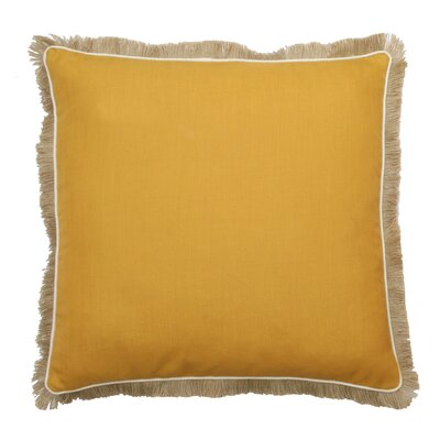 Bailey Fringe Welt and Raffia Trim Throw Pillow Color: Honey Gold