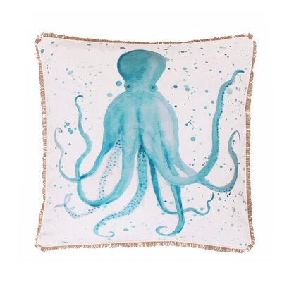 Coastal Ozwald Octopus Splatter Throw Pillow