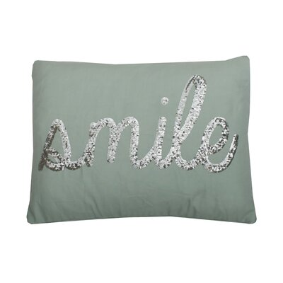 Smile Sequin Script Lumbar Pillow Color: Harbor