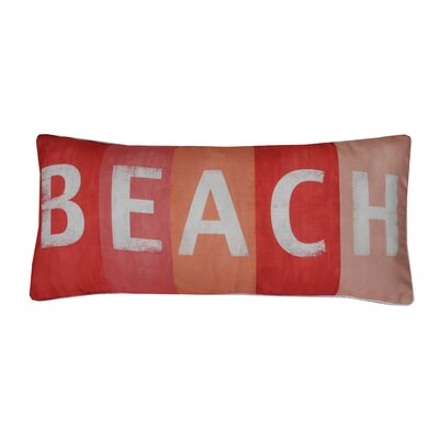Coastal Beach Print Lumbar Pillow Color: Coral
