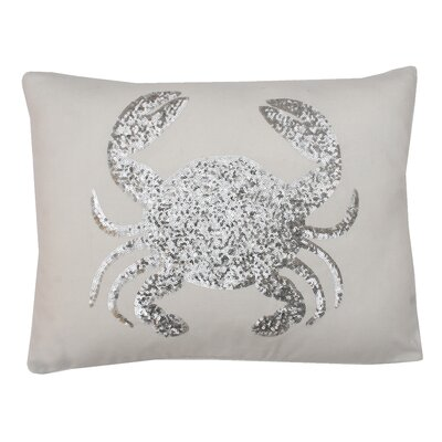 Coastal Crab Throw Pillow Color: White
