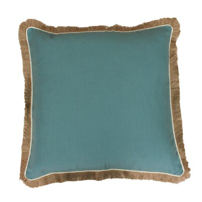 Bailey Fringe Welt and Raffia Trim Throw Pillow Color: Nile Blue