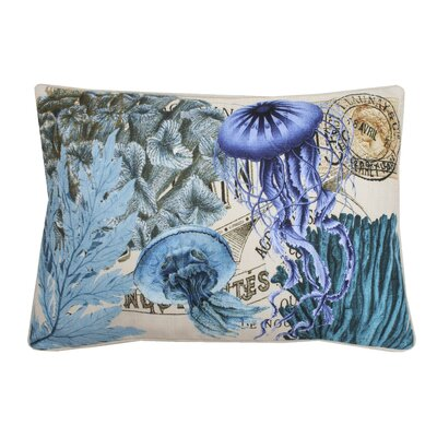 Coastal Jelly Fish Printed Throw Pillow