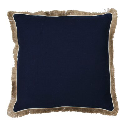 Bailey Fringe Welt and Raffia Trim Throw Pillow Color: Peacoat Navy