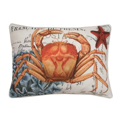 Coastal Crab Printed Lumbar Pillow