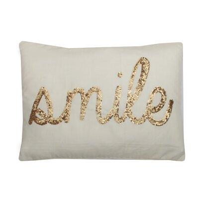 Smile Sequin Script Lumbar Pillow Color: Papyrus