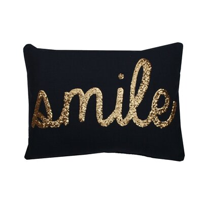 Smile Sequin Script Lumbar Pillow Color: Peacoat
