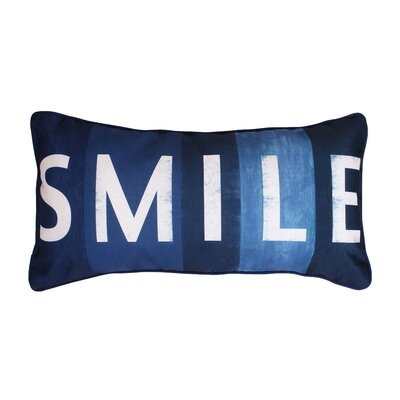 Coastal Smile Printed Lumbar Pillow Color: Navy