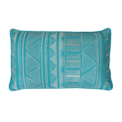 Tracey Embroidered Tribal Sketch Lumbar Pillow Color: Capri