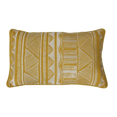 Tracey Embroidered Tribal Sketch Lumbar Pillow Color: Lemon Curry