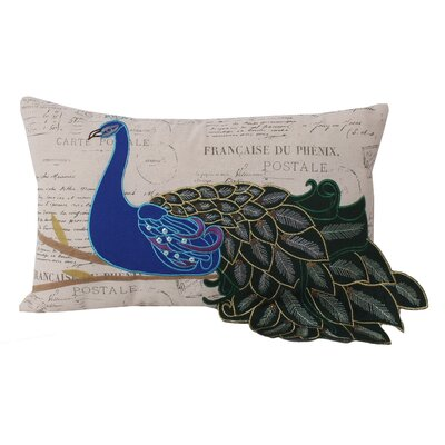 Postcard Peacocks Linen Lumbar Pillow