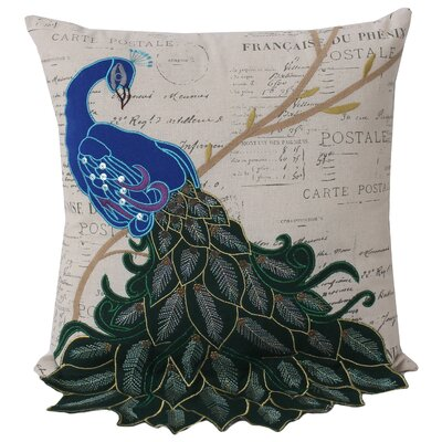Postcard Peacocks Linen Throw Pillow