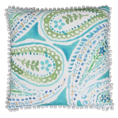Katerina Pom Pom Paisley Throw Pillow Color: Blue Green