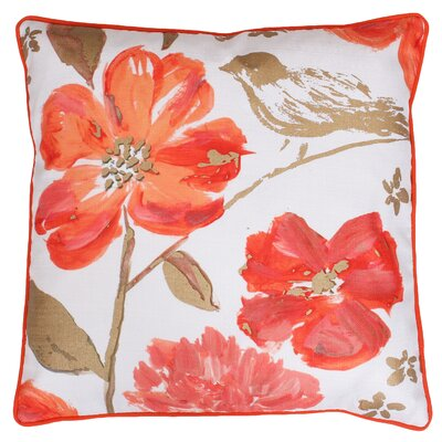 Joan Floral Throw Pillow Color: Camellia Gold