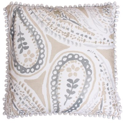Katerina Pom Pom Paisley Throw Pillow Color: Natural Silver