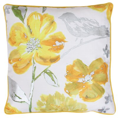 Joan Floral Throw Pillow Color: Mimosa Silver
