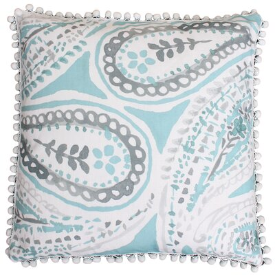 Katerina Pom Pom Paisley Throw Pillow Color: Nile Blue