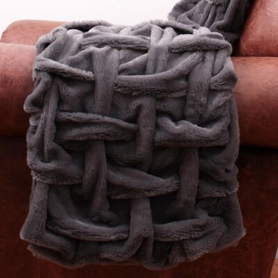 Paloma Fur Decorative Throw Color: Charcoal