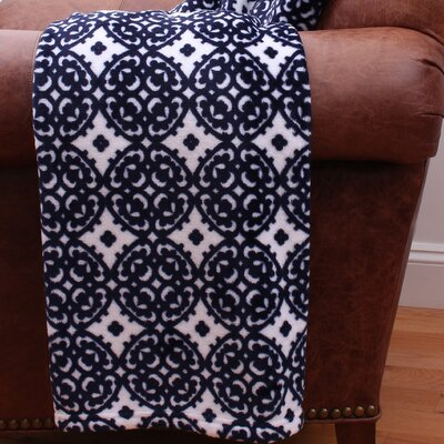 Lillian Medallion Fleece Throw Color: Navy
