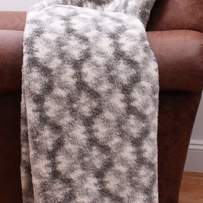 Quinto Printed Sherpa Throw    Color: Charcoal Silver