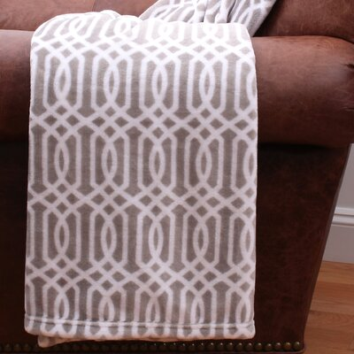 Lattice Print Fleece Throw Color: Silver