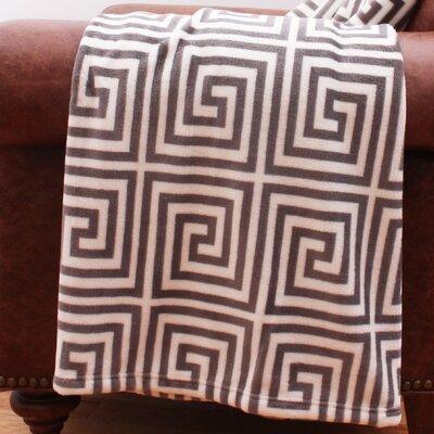 Charcoal Kelly Greek Key Fleece Throw
