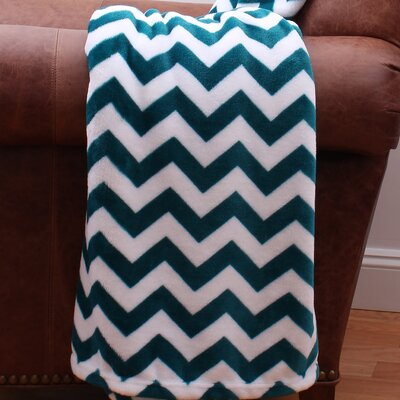 Classic Chevron Fleece Printed Throw Color: Deep Lake