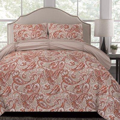Beige/Orange Microfiber Comforter Set Size: Full / Queen