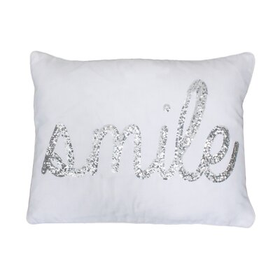 Smile Sequin Script Lumbar Pillow Color: White