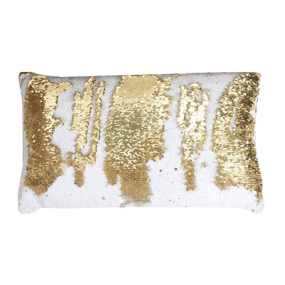 Mermaid Sequin Reversible Melody Lumbar Pillow Color: White / Gold
