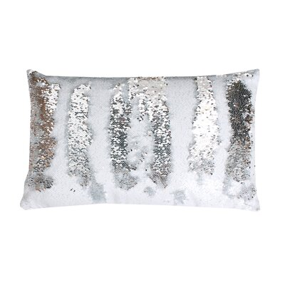 Mermaid Sequin Reversible Melody Lumbar Pillow Color: White / Silver
