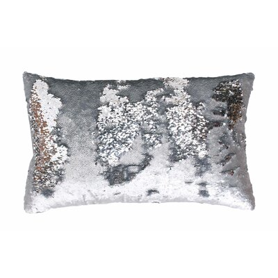 Mermaid Sequin Reversible Melody Lumbar Pillow Color: Silver / Silver