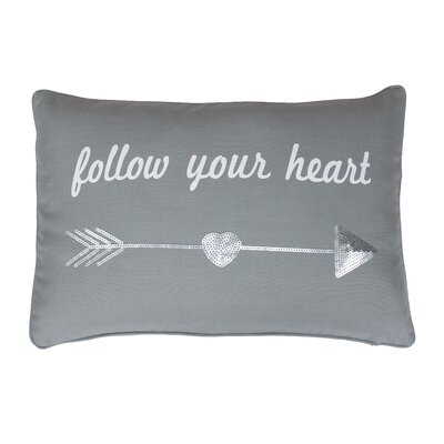 Edward Follow Your Heart Lumbar Pillow Color: Silver / Silver