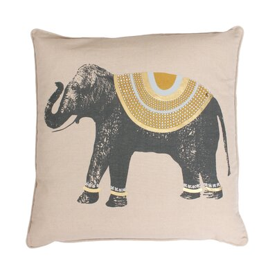 Ezra Elephant Throw Pillow Color: Honey / Gold