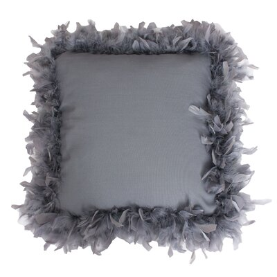 Mary Feather Trim Throw Pillow Color: Charcoal