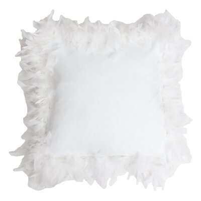 Mary Feather Trim Throw Pillow Color: Bright White