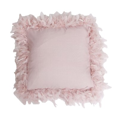 Mary Feather Trim Throw Pillow Color: Rose Smoke