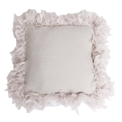 Mary Feather Trim Throw Pillow Color: Oatmeal