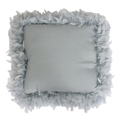 Mary Feather Trim Throw Pillow Color: Silver