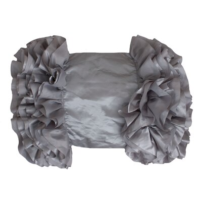 Bahama Side Ruffle Satin Lumbar Pillow Color: Silver