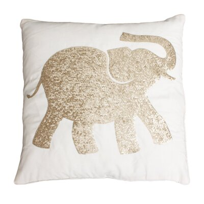 Elazar Elephant Sequined Throw Pillow Color: Egret Gold