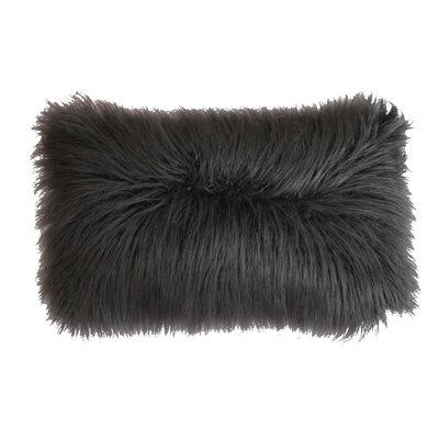 Keller Mongolian Throw Pillow Color: Charcoal
