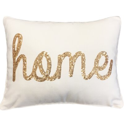 Loren Home Sequin Lumbar Pillow Color: Egret Gold