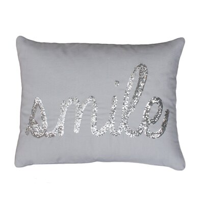 Smile Sequin Script Lumbar Pillow Color: Vapor