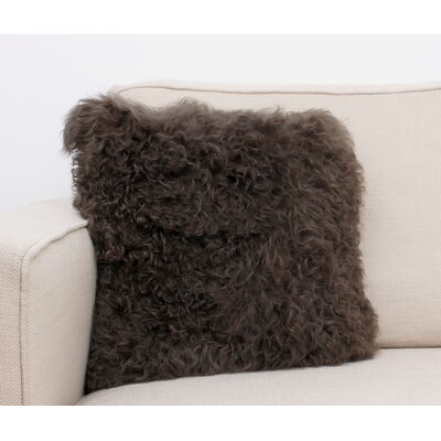 Mongolian Fur Throw Pillow Color: Walnut
